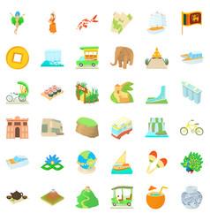 Globe journey icons set cartoon style vector