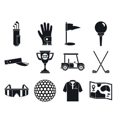 golf sport icons set simple style vector image