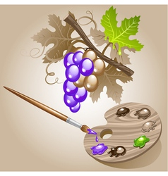 grape paint brush vector image