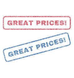 Great prices exclamation textile stamps vector