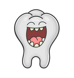 Happy cute laughing tooth cartoon vector