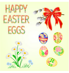 happy easter decoration easter eggs and daisy vector image