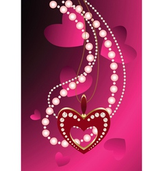 heart necklace and beads vector image
