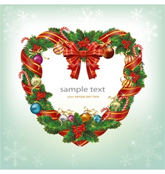 Heart shaped wreath christmas decoration card vector
