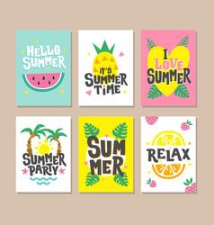 Hello summer cards party invitation design vector
