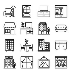 Home interior line icons pack vector