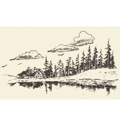 House drawn fir forest meadow real estate sketch vector