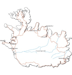 Iceland Black White Map vector image