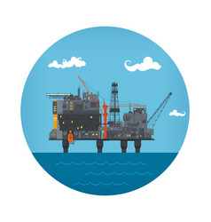 icon of sea oil platform vector image