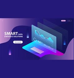 Isometric concept smart data statistics vector