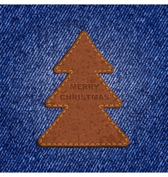 Jeans background leather Christmas tree vector image
