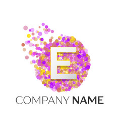 Letter e logo with purle particles and bubble dots vector