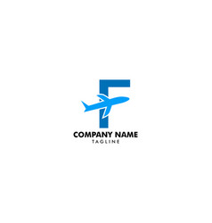 Letter f travel logo icon with airplane vector