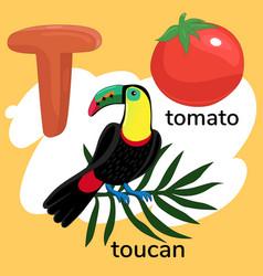 Letter t children s alphabet vector