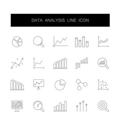 line icons set data analysis pack vector image
