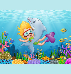 Little girl with dolphin swimming under the sea vector