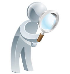 Magnifying glass silver man vector