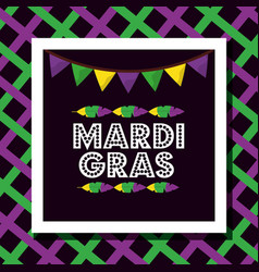 Mardi gras poster dotted lettering garland feather vector