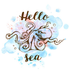 marine background with octopus vector image