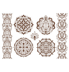 mehndi elements ethnic temporary henna tattoo vector image