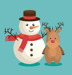 Merry christmas snowman character vector