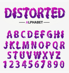 modern futuristic alphabet distorted letters and vector image