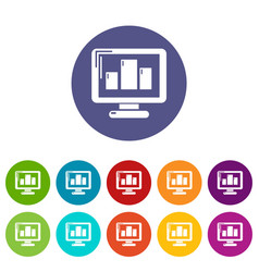 monitor icons set color vector image