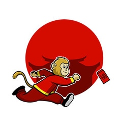 Monkey pursue lucky red envelope vector