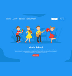Music school landing page template talented vector