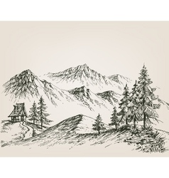 Nature drawing a hut in mountains vector