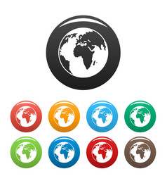 our planet icons set color vector image