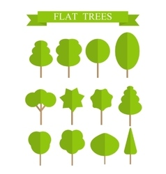 Paper Trendy Flat Trees Set vector image
