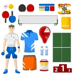 Ping pong icons set sport equipment and uniform vector