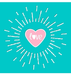 Pink shining heart and word love inside shining vector