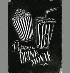 Poster soda popcorn chalk vector