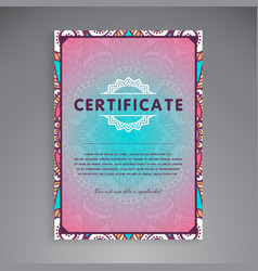 professional certificate template design vector image