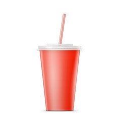 Red paper soda cup template vector