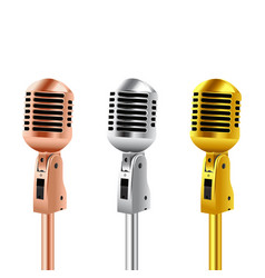 Retro microphones copper silver and gold vector