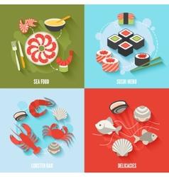 Seafood flat set vector image
