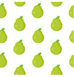 seamless pattern with green pear in flat style vector image