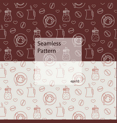 seamless pattern with various kinds coffee vector image