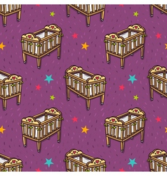 seamless pattern with wooden decorated baby crib vector image