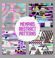 Seamless patterns set glitch design cyberpunk vector