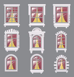 set of different windows element for architecture vector image