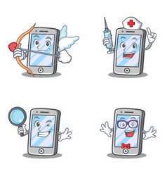 Set of iphone character with nurse magnifying geek vector