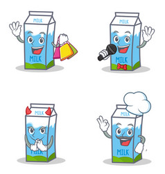 set of milk box character with shopping karaoke vector image
