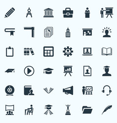 Set of simple conference icons elements success vector