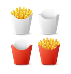 Set packed potatoes french fries vector