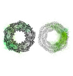 set round wreaths plants and branches vector image