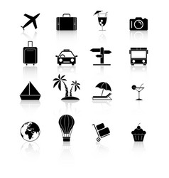set travel holiday black icons reflection vector image